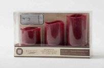 Set of 3 Real Wax Red Remote Control LED Candles
